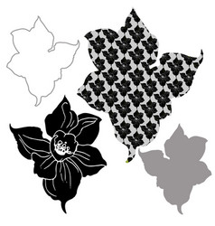 Monochrome stylized silhouettes flowers vector