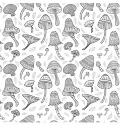 mushrooms in boho style with ornaments seamless vector image