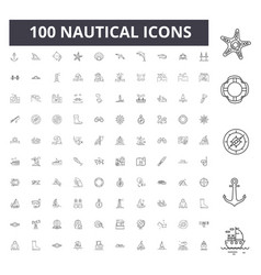 nautical line icons signs set outline vector image