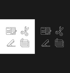Office stationery supplies linear icons set vector