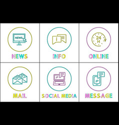 online news and info mail and message icons vector image