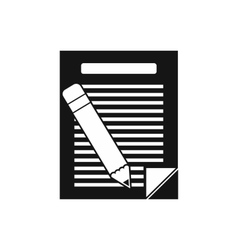Paper and pencil icon simple style vector