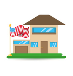patriotism house with american flag design vector image