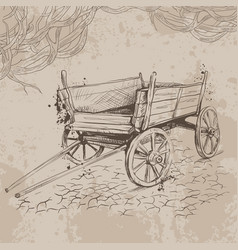 Pencil drawing old cart on a beige background vector
