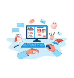 Person explore online banking on pc vector