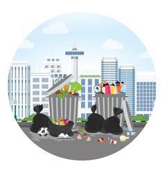 plastics garbage can full of overflowing trash vector image