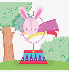 Rabbit hero costume jumping hoop vector