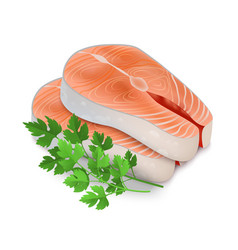 realistic detailed 3d steak of red fish and raw vector image