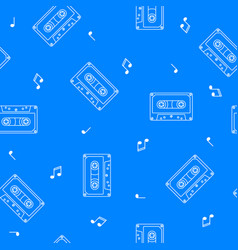 Retro cassette seamless pattern music concept vector