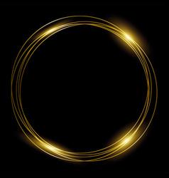 round gold frame golden rings on black vector image