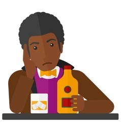 Sad man with bottle and glass vector image