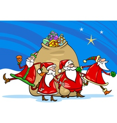 santa claus with presents cartoon vector image