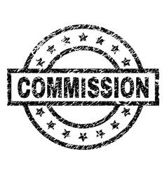 Scratched textured commission stamp seal vector