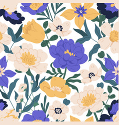 Seamless floral pattern with peonies anemones vector