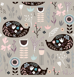Seamless pattern hedgehogs with floral elements vector