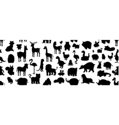 seamless pattern with animals silhouette vector image