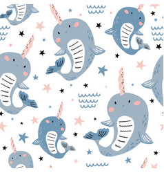 seamless pattern with magic narwhals creative vector image