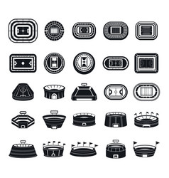 selfie video photo people icons set simple style vector image