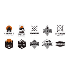 Set badge seal mountain adventure outdoor logo vector