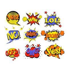 set comic text pop art vector image