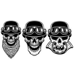 set of biker skulls on white background design vector image