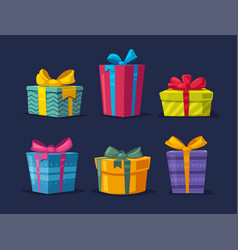 set of boxes with gifts vector image