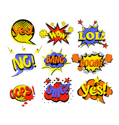 set of comic text pop art vector image