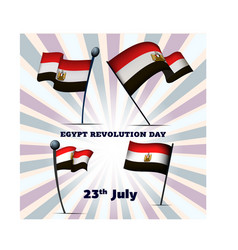 Set of four flags of egypt on egypt revolution day vector