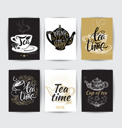 set of tea pot silhouettes with quotes tea party vector image