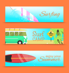 summer set of banners surfing vector image