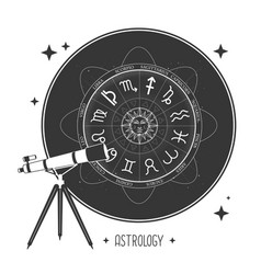 Telescope and astrology wheel with zodiac signs vector