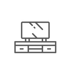 Television on nightstand line icon vector