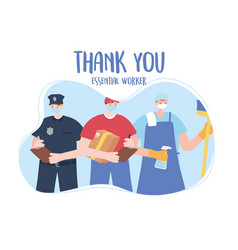 Thank you essential workers men group policeman vector