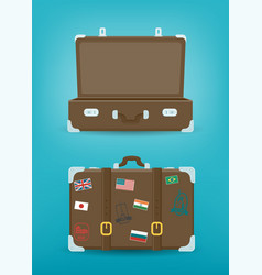 Travel luggage set travel and tourism concept vector