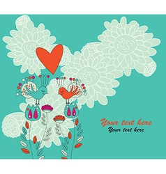 Two Birds in Love Sitting on Flowers vector image