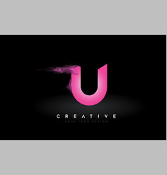 U letter logo with dispersion effect and purple vector