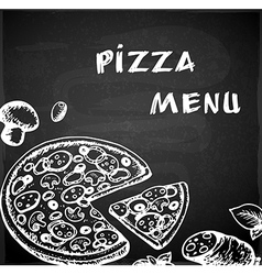 Vintage hand drawn pizza menu vector image