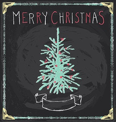 Vintage merry christmas tree chalkboard hand drawn vector