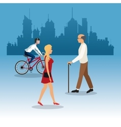 walking woman elder man young ride bike city vector image