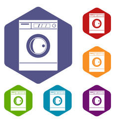 Washing machine icons set hexagon vector