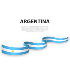 Waving ribbon or banner with flag argentina vector