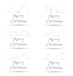White paper shadow simple merry christmas cards vector