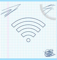 wi-fi wireless internet network symbol line sketch vector image
