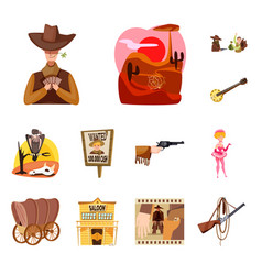 Wild and west sign set of vector