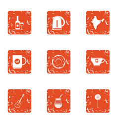 Wine place icons set grunge style vector