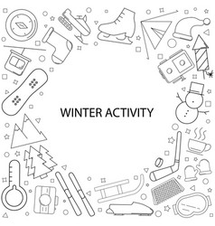 winter activity background from line icon vector image
