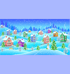 Winter landscape with snowcovered houses snowman vector
