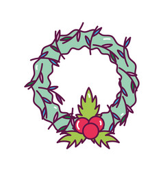 wreath holly berry foliage decoration merry vector image