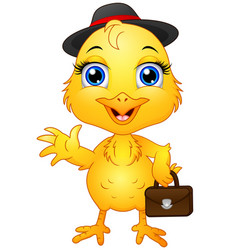 Yellow chick cartoon character wearing a hat and h vector