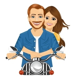 Young happy couple riding a motorcycle vector